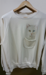 Ladies sweater 'Bowie cat' with pocket - free size